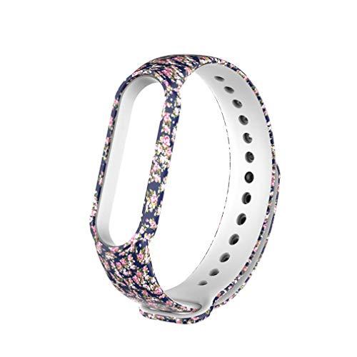 para Mi Band 5 Patrones Pintados Correa de Reloj Pulsera Muñequera reemplazable Rosas Azules Multicolores