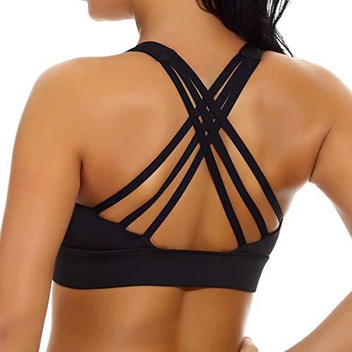 nine bull Women's Removable Padded Sports Bras High Impact Support Fitness Racerback Workout Yoga Bra S (Black)
