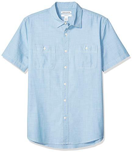 Amazon Essentials – Chemise en chambray à manches courtes et coupe ajustée pour homme, bleu clair, US XL (EU XL - XXL)