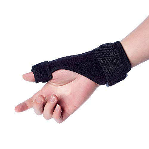 Thumb Splint Support Brace, Thumb Stabilizer Built with Wrist Strap, Stabilizing Thumb and Wrist, - Pain Relief from Arthritis, Sprains, Strains - Reversible Left or Right Hand (1 PC, Large)