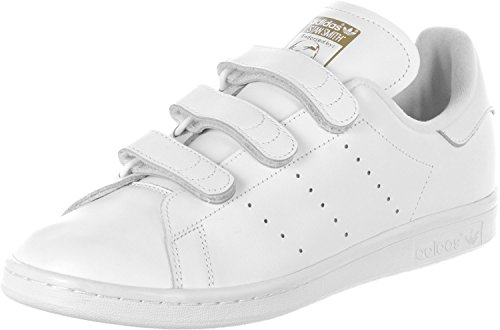 adidas Stan Smith Herren Sneaker, Weiß (Ftwr White/Ftwr White/Gold Met.), 45 1/3 EU