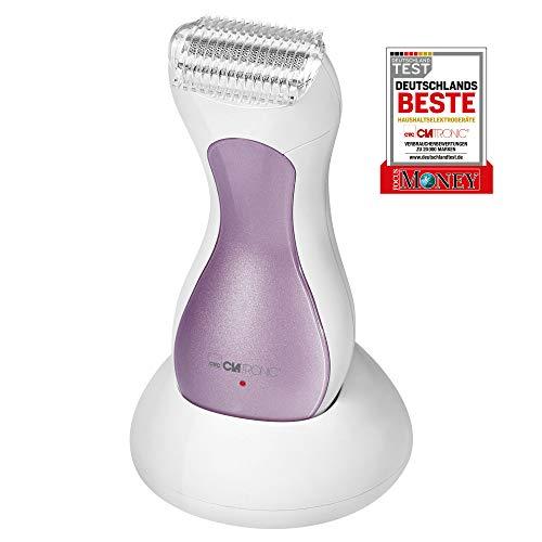 Clatronic LS 3658 Lady-Shaver, flieder, sanfte Haarentfernung an Beinen, Achseln und Bikinizone, Akkubetrieb, Spritzwassergeschützt (IPX4), LED-Ladeanzeige