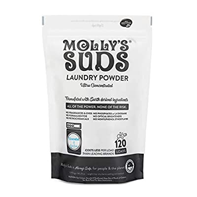 Molly's Suds Unscented Laundry Detergent Powder, 120 Loads, Natural Laundry Soap for Sensitive Skin, 80.25 Ounce (Pack of 1)