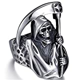 Anillo De Calavera Grim Reaper Moda Retro Punk Locomotora Anillo De Calavera Regalo De Fiesta De Halloween,10