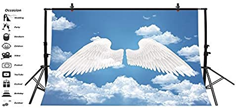 Baocicco 5x4ft Angel Backdrop Pure White Wings Photo Backdrop Blue Sky White Clouds Background Photography Background Birthday Party Baby Shower Baby Children Adults Portrait Studio Video Prop