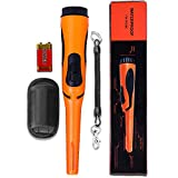 Fully Waterproof Pinpoint Metal Detector Pinpointer - Fully Waterproof to 8-15 Feet Double Button Orange 360°Search Treasure Pinpointing Finder Probe with Belt Holster for Adults and Kids (Three Mode)