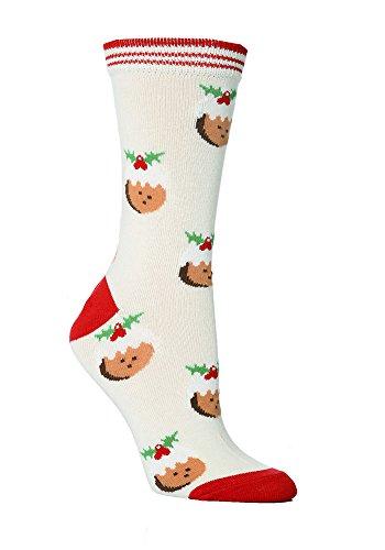 Festive Feet 1 Paar Damen Neuheit Weihnachts pudding Socken UK 8.4 EUR 37-42 Creme