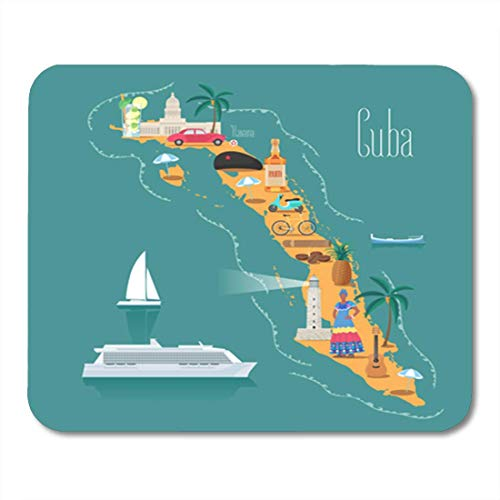 Semtomn Gaming Mouse Pad Strandkarte von Kuba Kubanische Wahrzeichen Frau Zigarren Entdecken Dekor Büro Rutschfeste Gummi Backing Mousepad Maus Matte