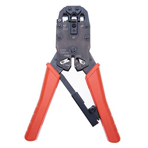 Crimpwerkzeug Draht Quetschzange Ratsche Kabel Kabelschneider für 4P, 6P, 8P / RJ-10, RJ-11, RJ-12, RJ-45 / Cat5, Cat5e, Cat6, Cat6e, Cat7 | Abisolieren von Kabeln Crimpen Schneidwerkzeug Handwerkzeug