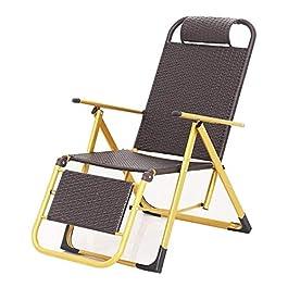 GAODINGD Chaise Longue de Jardin Bain de Soleil Balancelle Fauteuil inclinable en Osier Bureau en rotin Chaise Pliante…
