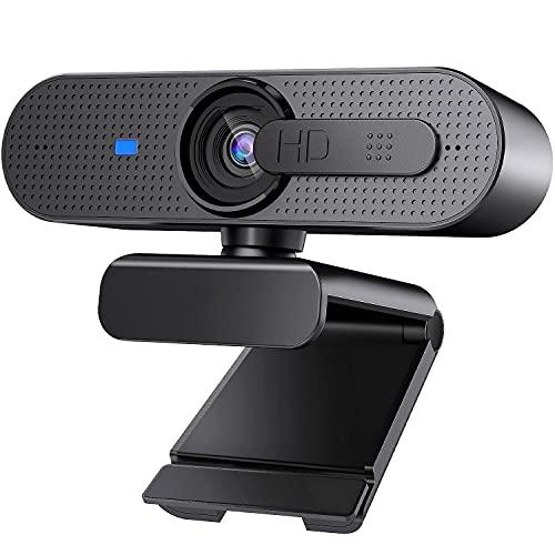 HD 1080P Webcam für PC, Autofokus USB Web Kamera mit Stereo Mikrofon und Abdeckung, 360° drehbar Streaming Webcam für Computer, Skype, YouTube Video, Zoom, Konferenz, Online-Kursen(Schwarz)