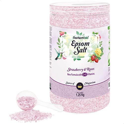 Nortembio Sal de Epsom 1,25 Kg. Novedosa Fragancia de Fresa y Rosas. Hidratada con Vitamina C y E. Sales de Baño y Cuidado Personal. E-Book incluido.
