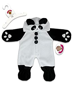 Build Your Bears Wardrobe Teddy Bear Clothes fits Build a Bear Teddies All-in-one Panda Sleeper Outfit(blk/white) by Build Your Bears Wardrobe