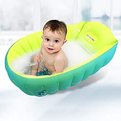 relaxing baby Inflatable Baby Bathtub, Small Bathtub Seat for Baby Sitting Up, Portable Bathtub Chair for Baby Girl Travel Tub Accessories with 2 Funny Bath Toys & Air Pump for Newborn - 5 Years Old.