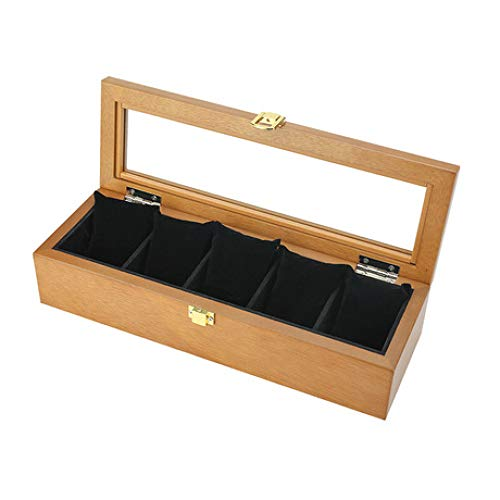 QMWY horloge doos, horloge vitrine Vintage houten glas zonnedak horloge box Five-pack horloge display box Collectie sieraden opslagdoos Stuur leiderschapskist