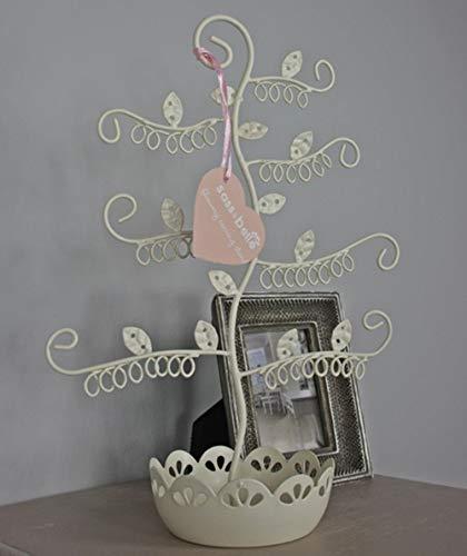 Sass & Belle, albero portagioie, in metallo, bianco. Portagioie colore: crema