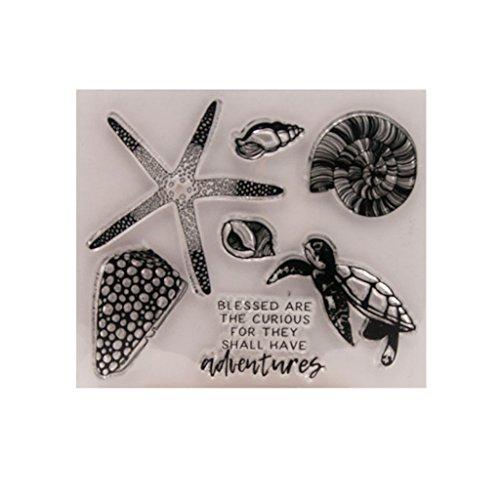 Bogji Zeester transparante stempels, heldere stempels, siliconen stempel voor DIY Scrapbook fotoalbum decoreren en kaarten maken decoratie, Cling Seal Embossing voor kinderen geschenk, 12x10,5 cm