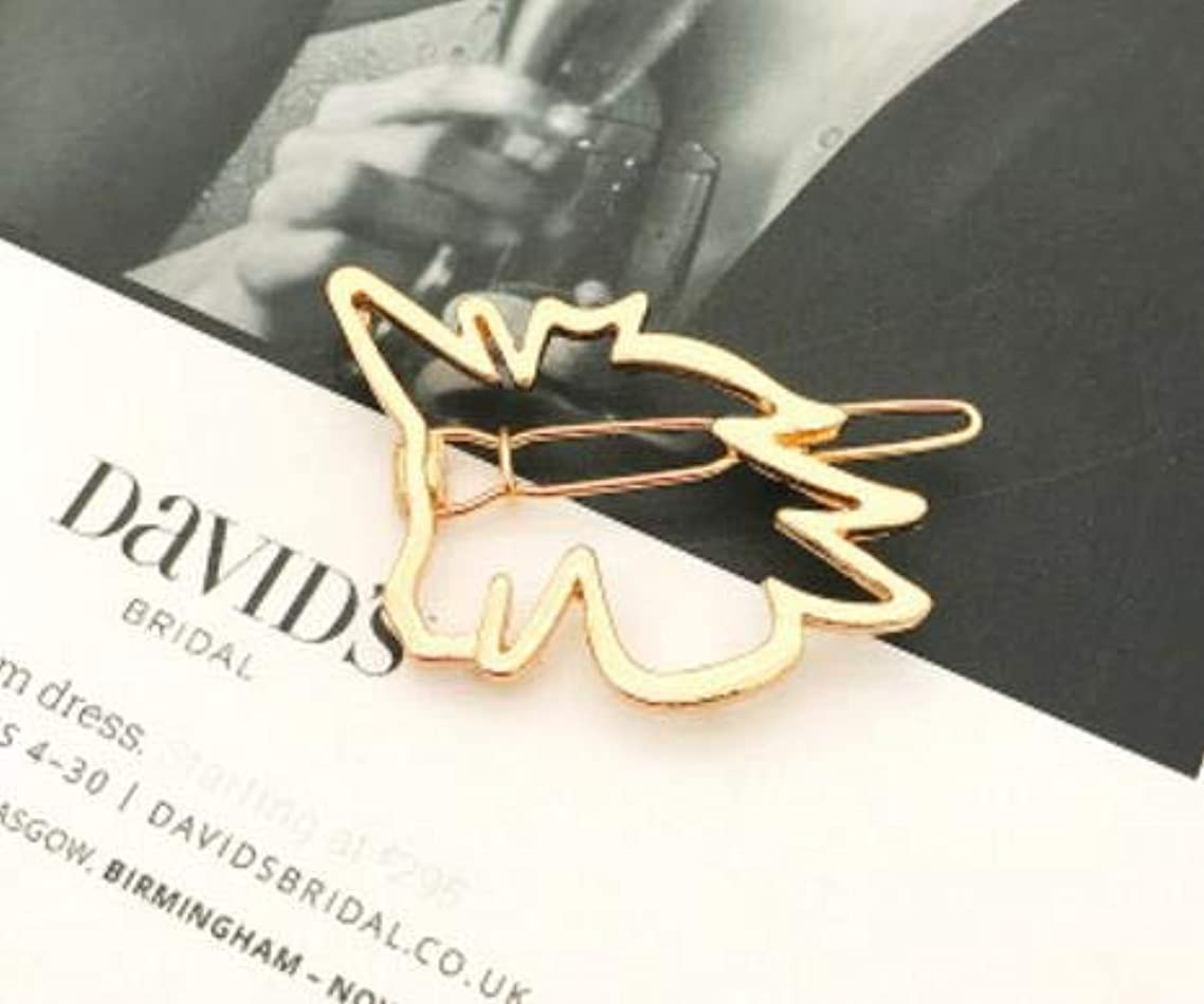 1PCS Dainty Golden Hollow Geometric Metal Hairpin Hair Clip (Unicorn)