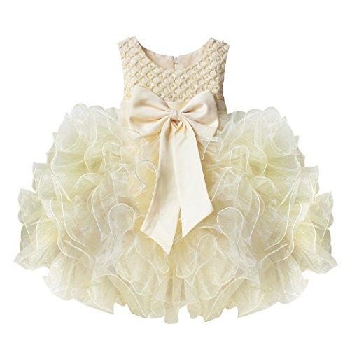 TiaoBug Baby Mädchen Prinzessin Kleid Blumenmädchen Party Kleid Festlich Tütü Hochzeit Perle Taufkleid Festkleid Gr. 68-104 Beige 104