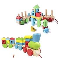 NUOBESTY 1Pc木製組立列車のおもちゃ、モデル列車のおもちゃ、ビルディングブロックのおもちゃ、ミニ列車、初期の教育玩具、教育玩具、子供女の子幼児のためのクリスマスプレゼント