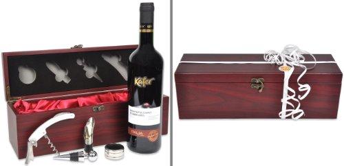 Geschenk für Paare Rendezvous mit italienischem Rotwein plus Weinzubehör in edler Holzbox