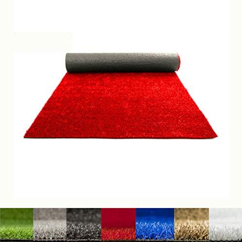 Lucatex – Césped artificial Ibiza 8mm | césped artificial de colores azul, rojo, blanco, verde. | Césped artificial ideal para decoraciones de interior o exterior con fácil instalación (2x10 m, Rojo)