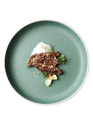 SDFB Plato de Sopa de cerámica Creativo, Cuenco de Ensalada de 8 Pulgadas, Cuenco de Ensalada/Pastel/Espagueti para Uso doméstico, Esmalte de sésamo Blanco Mate, Verde Claro