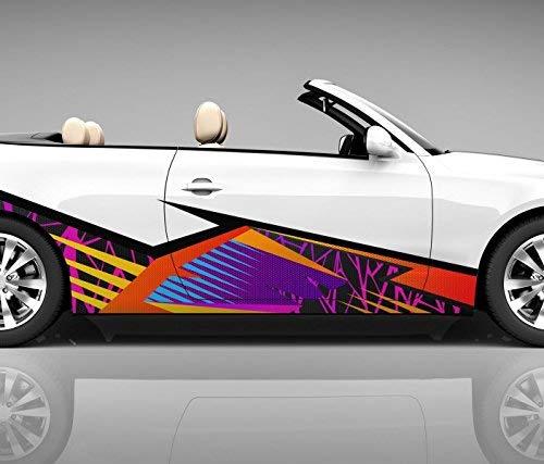 2x Seitendekor 3D Autoaufkleber Geo Figuren Digitaldruck Seite Auto Tuning bunt Aufkleber Seitenstreifen Airbrush Racing Autofolie Car Wrapping Tribal Seitentribal CW122, Größe Seiten LxB:ca. 220x50cm
