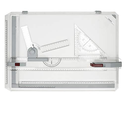 ECD Germany Table Planche À Dessin A3 Professionnelle - Bloc Multifonction avec Accessoires - Mouvement Parallèle Angle Réglable pour L'étudiant Travaillant Bureau Conception Graphique D'architecture