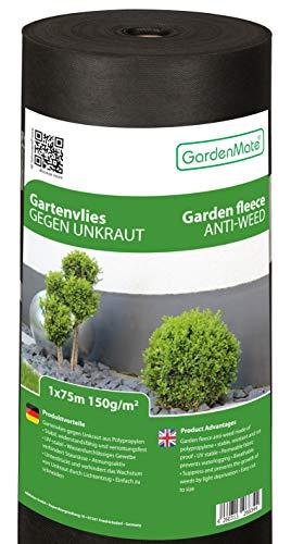 GardenMate Rollo de Malla geotextil prémium de 1 m x 75 m y 150 g/m² – Geotextil extrarresistente para Malas Hierbas – Alta estabilización contra UV – Permeable al Agua – 1 m x 75 m = 75 m²