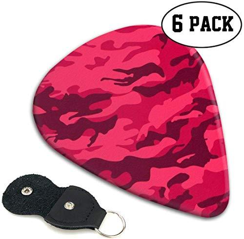 Red Badeanzugstoff Camouflage Plektren 6er Pack Originalität für E-Gitarre, Akustikgitarre, Mandoline und Bass.46mm