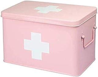 AINIYF Household Medicine Box Metal Medicine Box Multi-Layer Medical Box Medicine Storage Box (Color : Pink, Size : 22.4x16.5x15.8cm)
