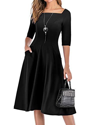 Gardenwed Damen Kleid 1950er Vintage Rockabilly Faltenrock Kleider mit Taschen Midi Cocktailkleid Abendkleider Black-M