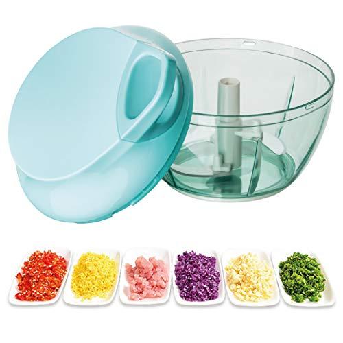 AMZTRADE Zwiebelschneider mit Seilzug   extra scharfer Gemüsehacker und Multizerkleinerer   Zwiebel schneiden ohne Tränen   einfach zu reinigen   für Gemüse, Kräuter, Nüsse.