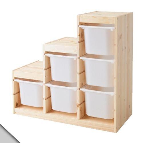 IKEA - TROFAST Storage Combination (A3), Pine, White