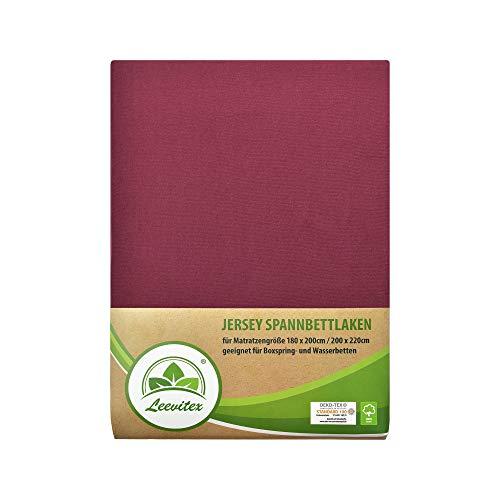 leevitex Colours SPANNBETTLAKEN | WASSERBETTEN & BOXSPRINGBETT | SPANNBETTUCH | ÖKO-TEX | 180x200 – 200x220 cm | 100% Jersey-Baumwolle | 150 g/m² | 40 cm Steg | Bordeaux/Weinrot