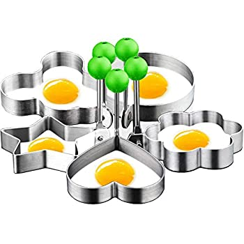 DYKL Eggs Rings for Frying Or Shaping Eggs,Food Grade Egg Cooking Rings,Stainless Steel Fried Egg Mold,Pancake Rings,Fried Egg Ring Mold  5Pack