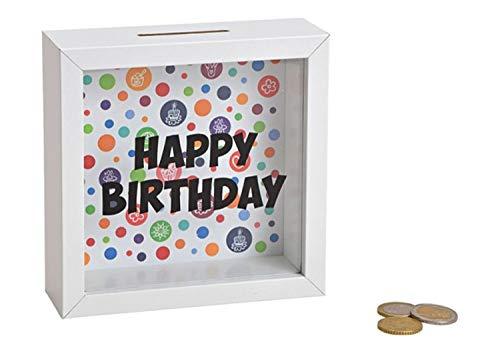 Wurm Spardose Happy Birthday aus Holz, weiß