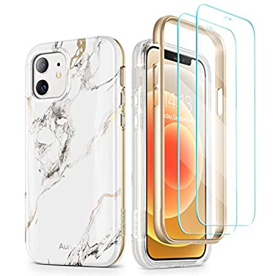 "GVIEWIN Aurora Case Compatible with iPhone 12/ Compatible with iPhone 12 Pro 6.1"" (2020), Marble Shockproof Drop Protection Full-Body Cover with [2 Tempered Glass Screen Protectors] (White/Gold)"
