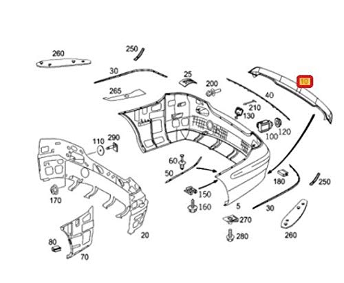 CLK W209 AMG A2098851825 - Difusor de parachoques trasero