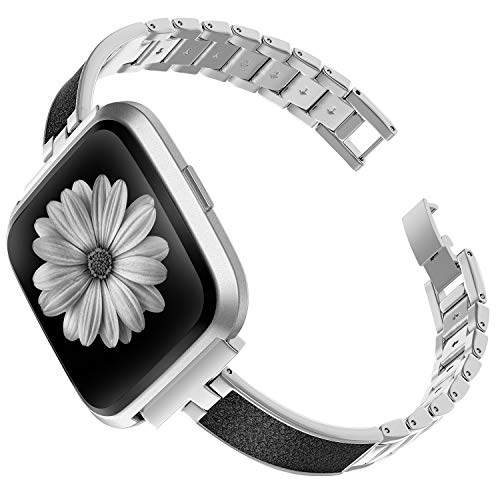 TOYOUTHS Stylish Bracelet Compatible with Fitbit Versa/Versa 2 Bands Women Slim Strap Replacement for Versa Lite Special Edition Stainless Steel Metal+Leather Wristband Accessories (Silver+Black)