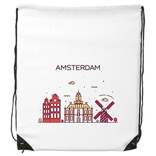 Amsterdam Nederland Platte Landmark Patroon Trekkoord Rugzak Fijne Lijnen Winkelen Creatieve Handtas Schouder Milieu Polyester Tas