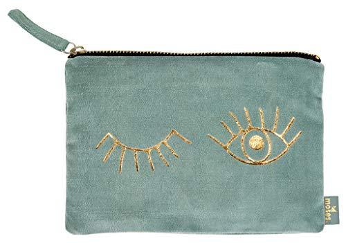 moses. Täschchen Eyes libri_x | Kosmetiktasche aus Samt | für Schminkutensilien, Stifte und Krims-Krams Kosmetiktäschchen, 22 cm, Salbei