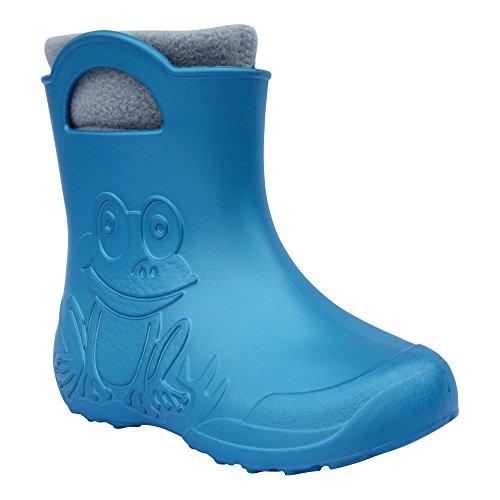 Gallux Eva Frog niedrige Kinder Gummistiefel metallic blau mit Stiefelsocken