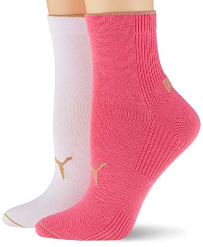 PUMA womens Women's Ribbed Short (2 pack) Casual Sock, pink, 35/38 (2er Pack)