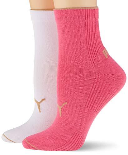 PUMA womens Women's Ribbed Short (2 pack) Casual Sock, pink, 35/38 (2er Pack)