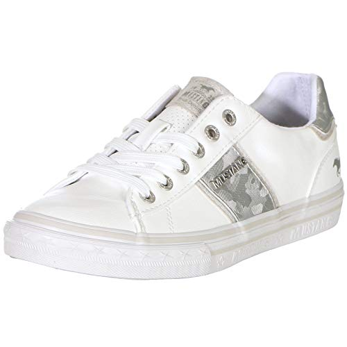 MUSTANG Damen 1354-306-121 Sneaker, Weiß (Weiß/Silber 121), 40 EU