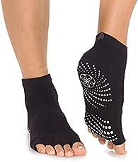 Gaiam Yoga Socks - Toeless Grippy Non Slip Sticky Grip Accessories for Women & Men - Hot Yoga, Barre, Pilates, Ballet, Dance, Home - Black/Grey 2-Pack