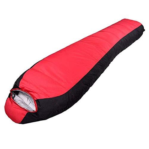 WLA Mummy Schlafsäcke Winter Outdoor Camping Schlafsack Dicke wasserdichte Eiderdaunen-Tasche (Farbe: rot) (Color : Red)