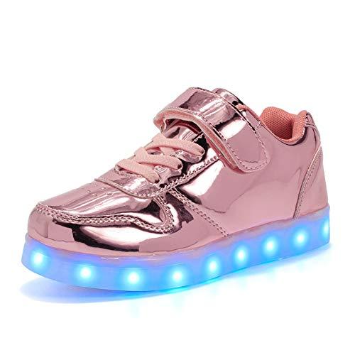 Lovelysi Unisex Zapatos Zapatillas de LED 7 Colors USB Carga Luz Luminosas Flash Deporte para Deportivas para Navidad Fiesta de Regalo Niños Niñas